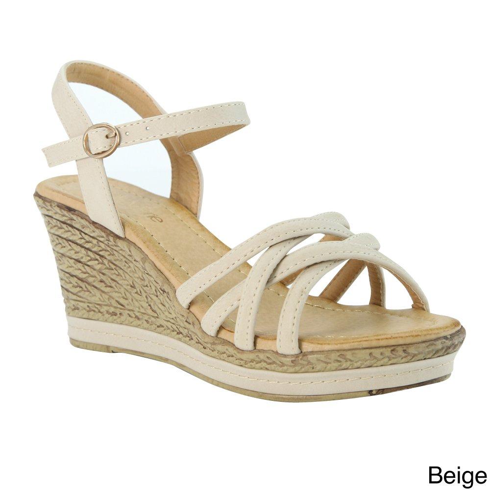 Bella Marie BellaMarie Nxt-10 Women Comfy Ankle Strappy Espadrille Wedge Platform Sandal B00K7YF7EI 8 B(M) US Beige