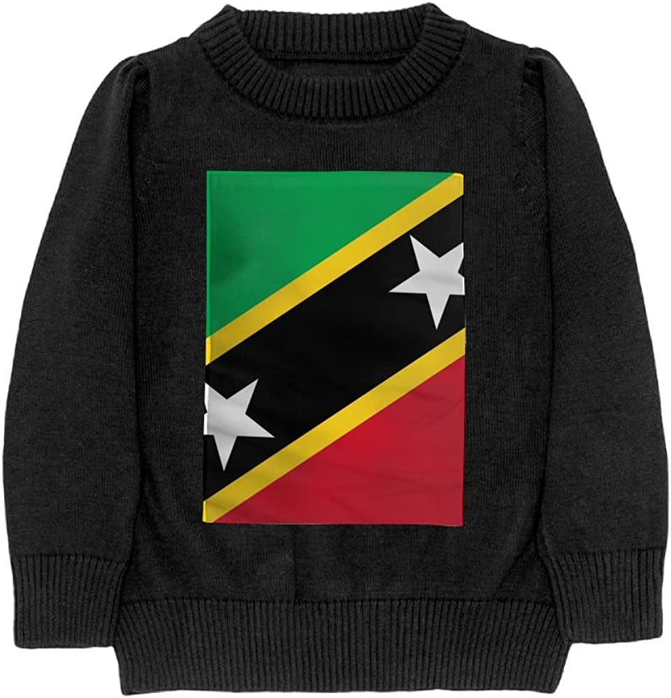 DTMN7 Flag Of Saint Kitts and Nevis Teens Sweater Long Sleeves Crew-Neck Youth Athletic Casual Tee Junior Boys