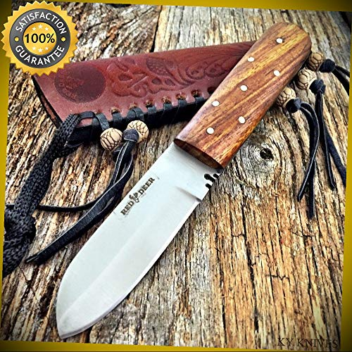 (RED DEER 9'' Full Tang Western Style Fixed Blade Patch Knife Leather Sheath for Hunting Camping Cosplay)