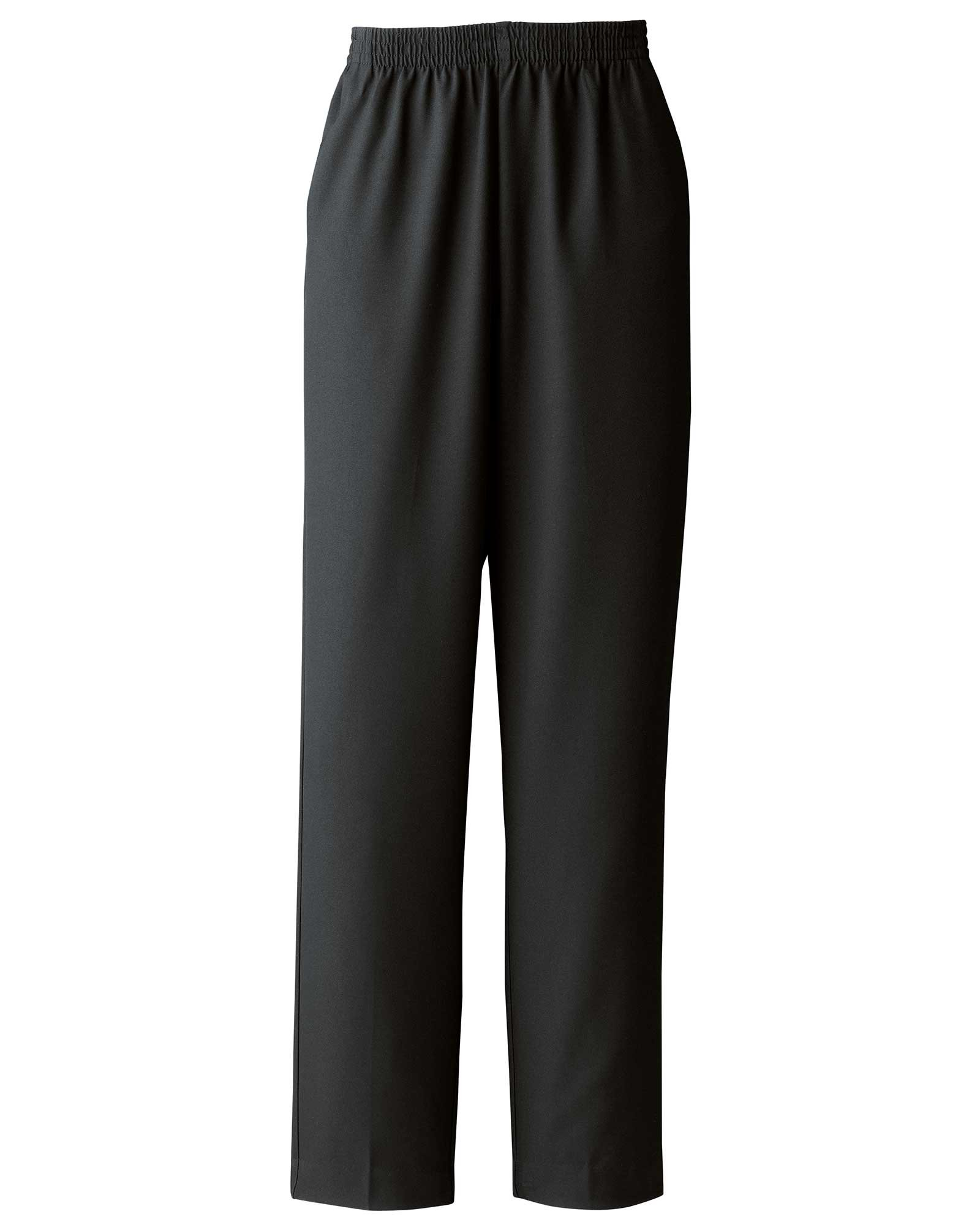 Donnkenny Elastic-Waist Gabardine Pull-On Pants, Black, 14