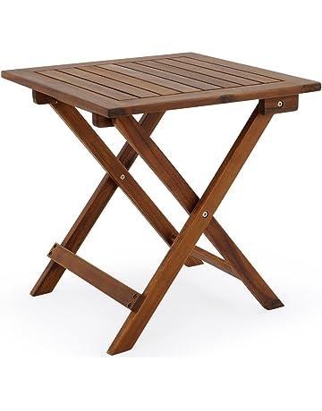 Deuba Mesa auxiliar de jardín madera de acacia mesita de café exterior plegable mesa de centro