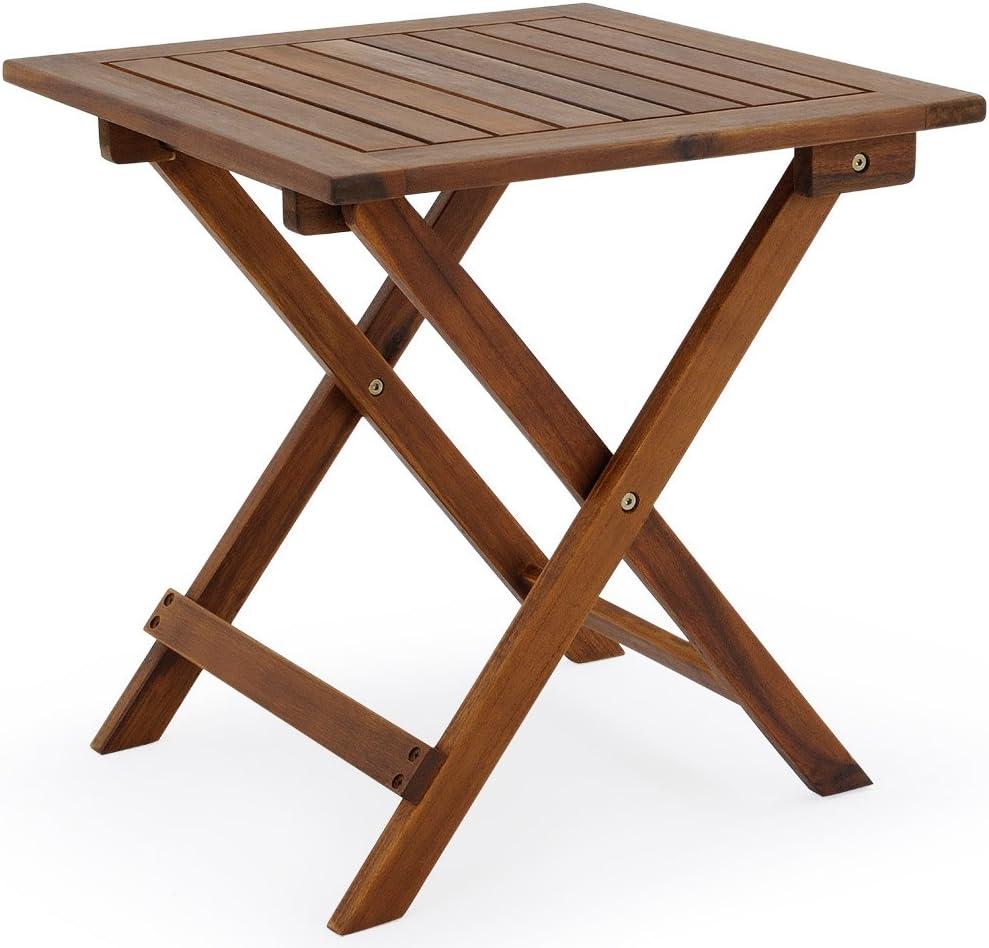 Deuba Mesa auxiliar de jardín madera de acacia mesita de café exterior plegable mesa de centro 46x46 cm terraza patio
