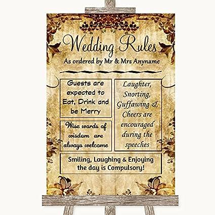 Otoño Vintage boda señal colección Otoño Vintage reglas de ...