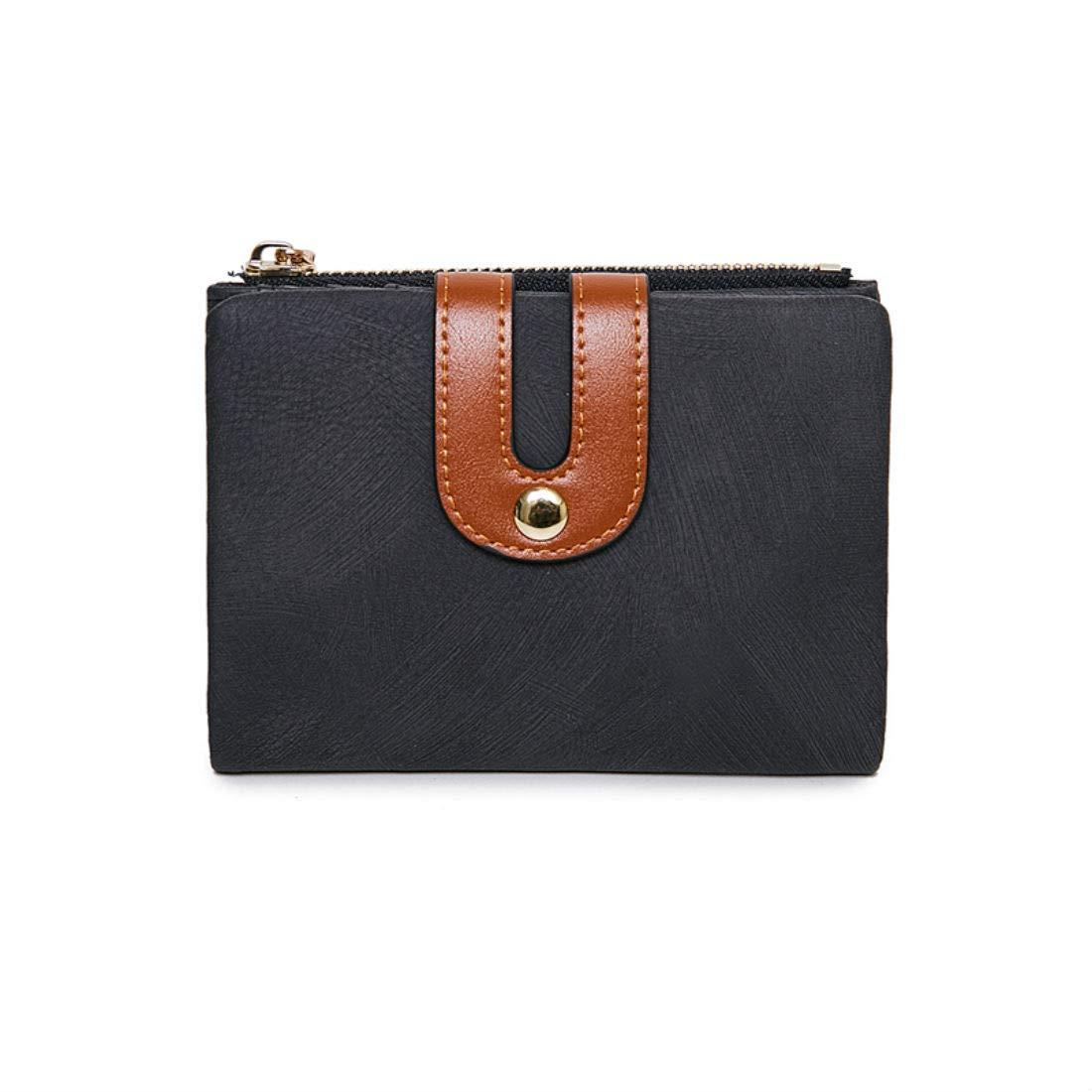 Women's Small Wallet Bifold Soft Leather Thin Short Wallets RFID Blocking Ladies Mini Purse with ID Window (Black)