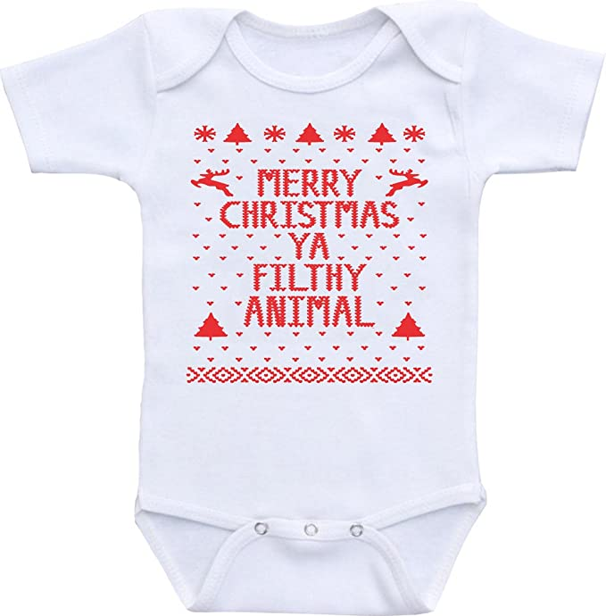 manta merry christmas ya filthy animal funny baby shower onesie bodysuit 12 18 months - Merry Christmas Ya Filthy Animal Onesie