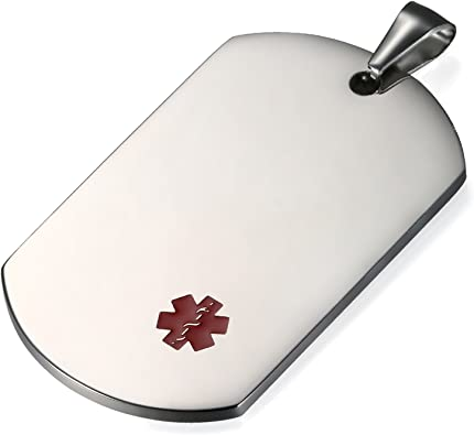 Negro Collar de identificaci/ón Acero Inoxidable Personalizado para alergias Placa Dog Tag Militar de Hombre Flongo Placa Alerta Medica Cruz roja