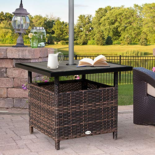 Festnight Outdoor Patio Wicker Dining Table, Garden Side Table with Umbrella Hole