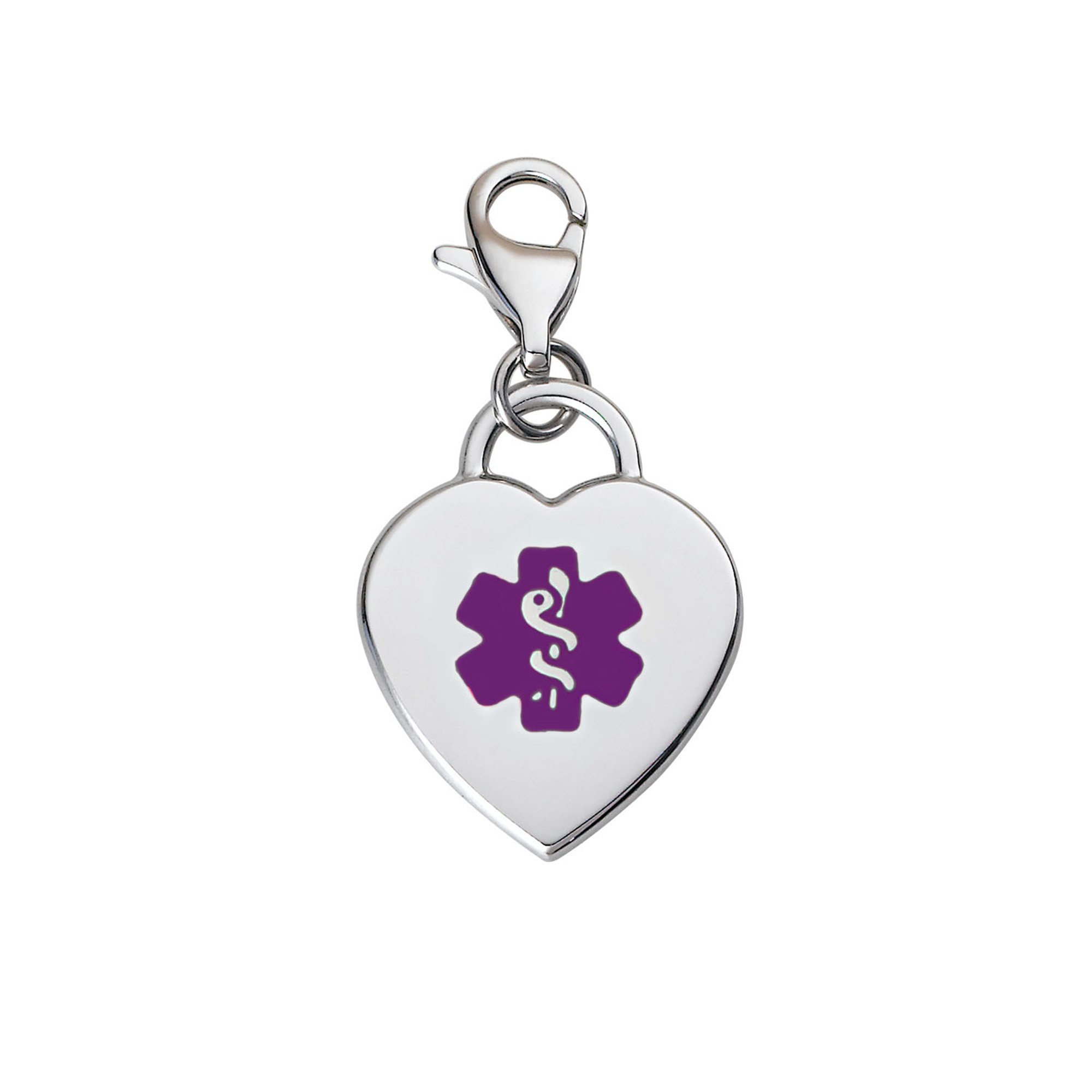 Divoti Custom Engraved Adorable Heart 316L Medical Alert Charm w/Lobster Clasp-Purple