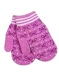 Fashion Winter Women's Mittens Bow Gloves Jacquard Cashmere,Lightpurple