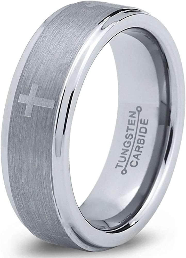 Charming Jewelers Tungsten Wedding Band Ring 6mm for Men Women Christian Cross Comfort Fit Grey Step Beveled Edge Brushed