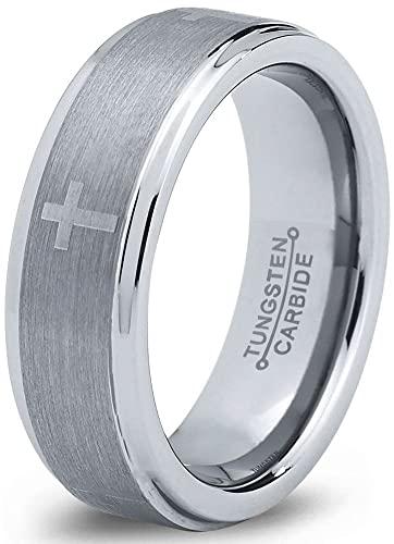 8c21256dca Charming Jewelers Tungsten Wedding Band Ring 6mm for Men Women Christian  Cross Comfort Fit Grey Step