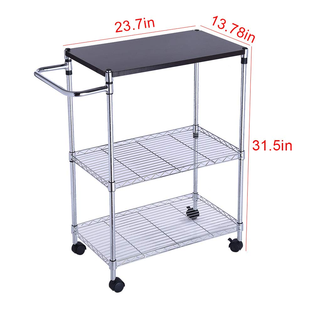 ChainSee 3 Tier Multi-Function Storage Rack, Microwave Stand Kitchen Oven Rack with Wheeled Wooden Cart, Kitchen Supplies Storage Rack by ChainSee (Image #4)