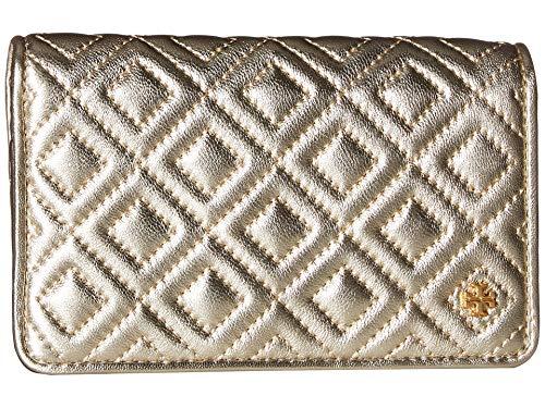 (Tory Burch Women's Fleming Metallic Slim Medium Wallet, White Gold, One Size)
