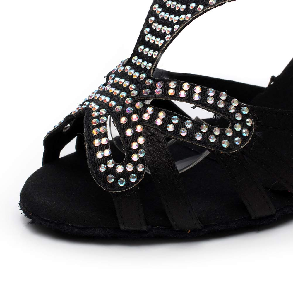 XIAOY XIAOY XIAOY Lateinische Tanzschuhe für Damen Satin Rhinestones T-strap Dance Schuhe Rom Schnalle Hoher Absatz 7.5CM  3feae5