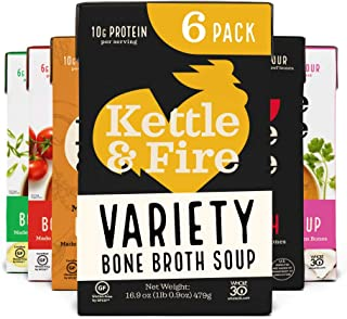 product image for Bone Broth Soup Variety Pack, Mushroom Chicken, Beef, Chicken, Thai, Tomato, and Miso by Kettle and Fire, Gluten Free, with Collagen, Protein, 16.2 fl oz (Pack of 6)