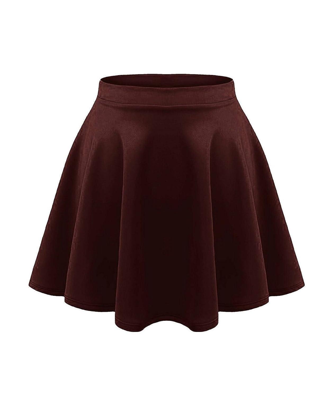janisramone Kids Girls Children New Plain Flippy Flared High Waistband Stretch Short Mini Skater Skirts UK