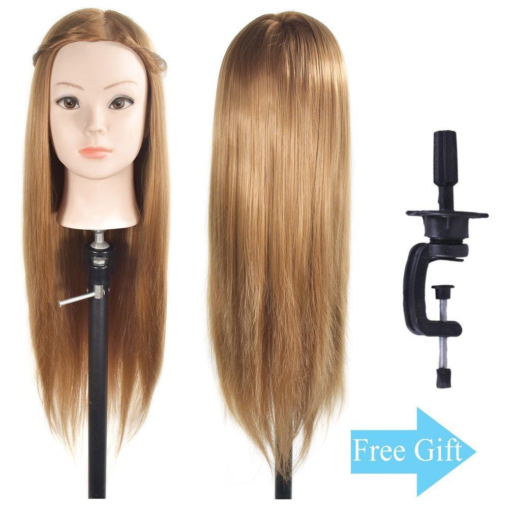 Testa di manichino con capelli sintetici per fare pratica con le acconciature, 66-71 cm; morsetto incluso Ba Sha