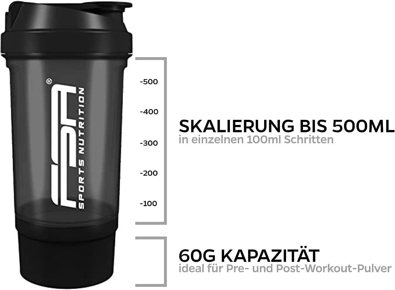 Proteína Shaker de 500 ml, con compartimento para los polvos de 100 ml, con tamiz, Botella Mezcladora, a prueba de fugas, BPA libre, FSA Nutrition - ...