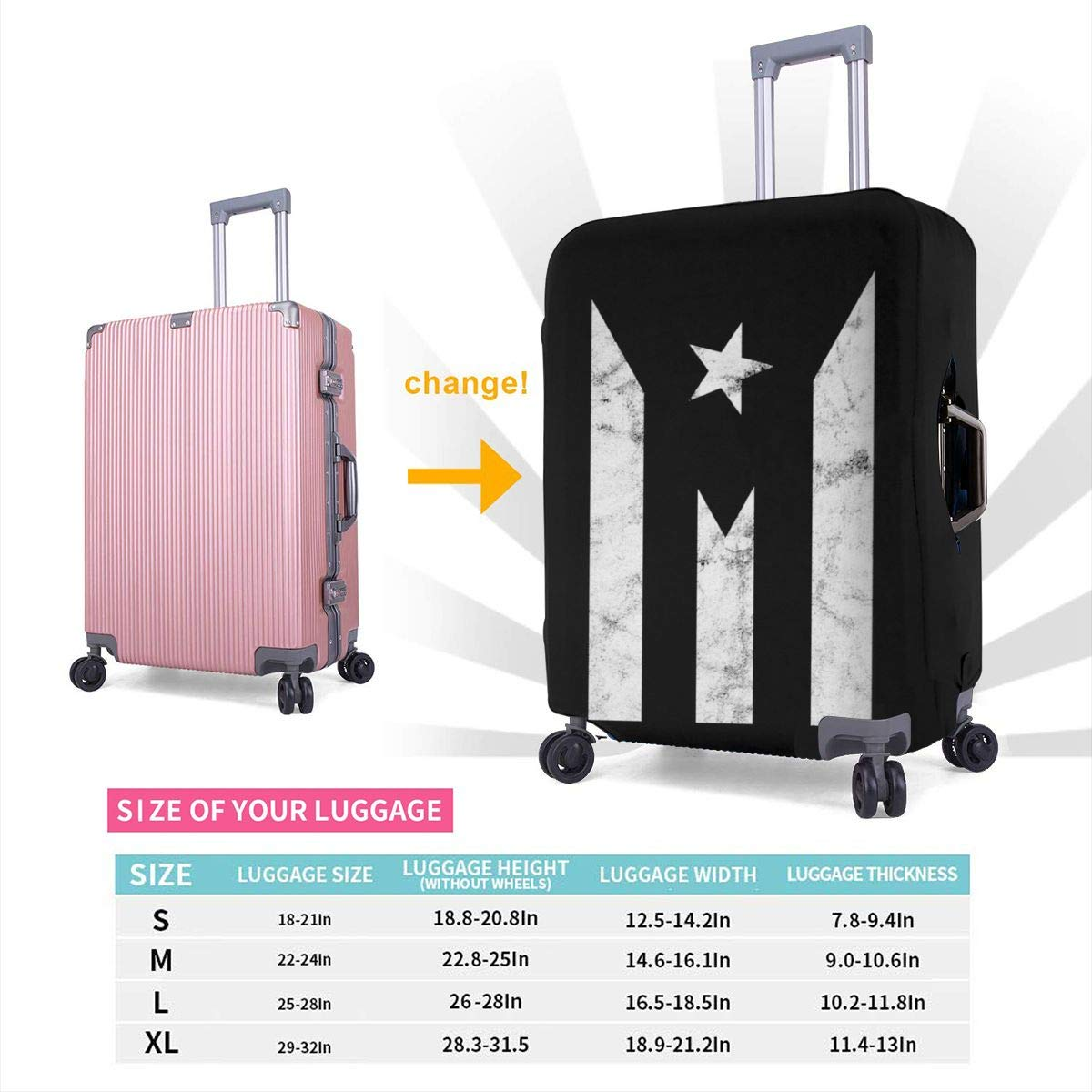 Puerto Rico Resiste Boricua Flag1 Elastic Travel Luggage Cover,Double Print Fashion Washable Suitcase Protector Cover Fits 18-32inch Luggage