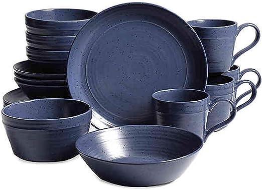 Amazon Com Home Milbrook 16 Piece Dinnerware Set In Blue