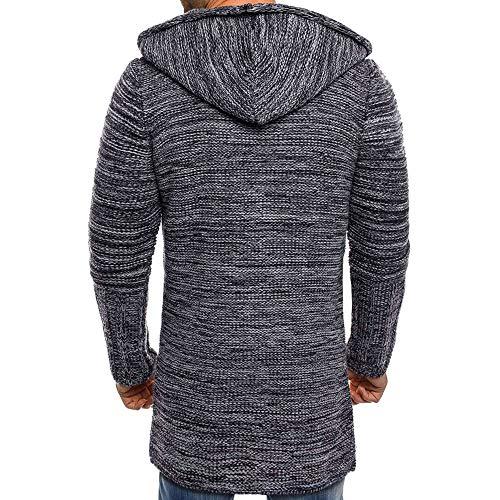 economici con Aimee7 scuro Cardigan maglia a maglione Uomo lunga cappotto Maglione giacca grigio lavorato cappuccio fwZFUw