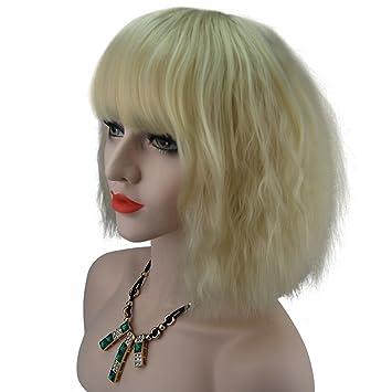 Amazon.com : eNilecor Short Fluffy Bob Kinky Straight Hair Wigs with ...