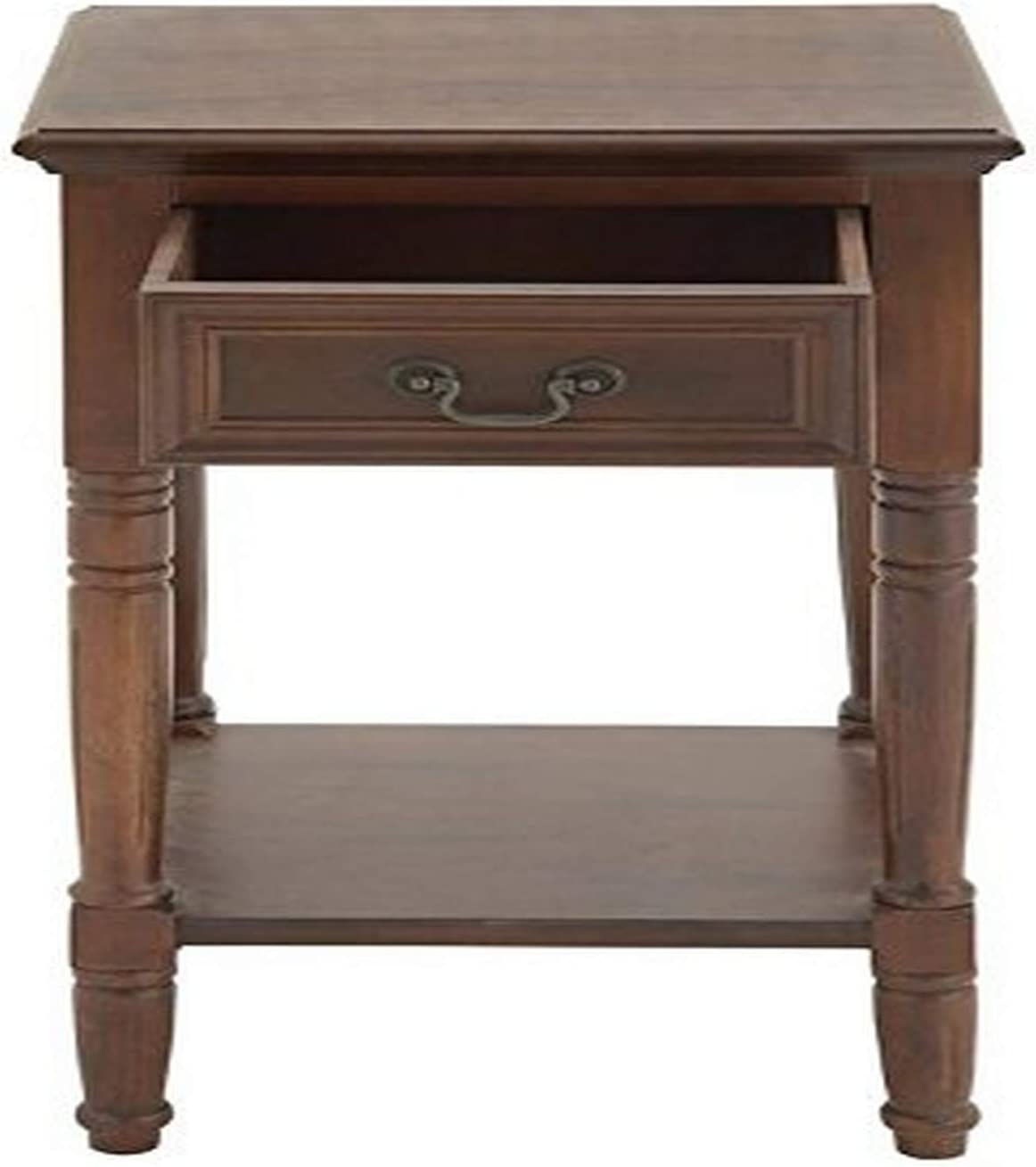 "Amazon.com: Mahogany Brown Wood Side Table with Drawer, 16"" x 29"