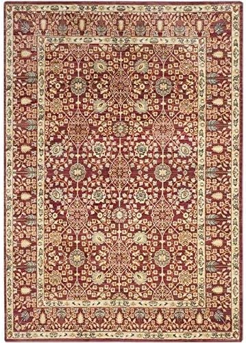 Safavieh Valencia Collection VAL120R Red and Beige Vintage Distressed Silky Polyester Area Rug 9 x 12