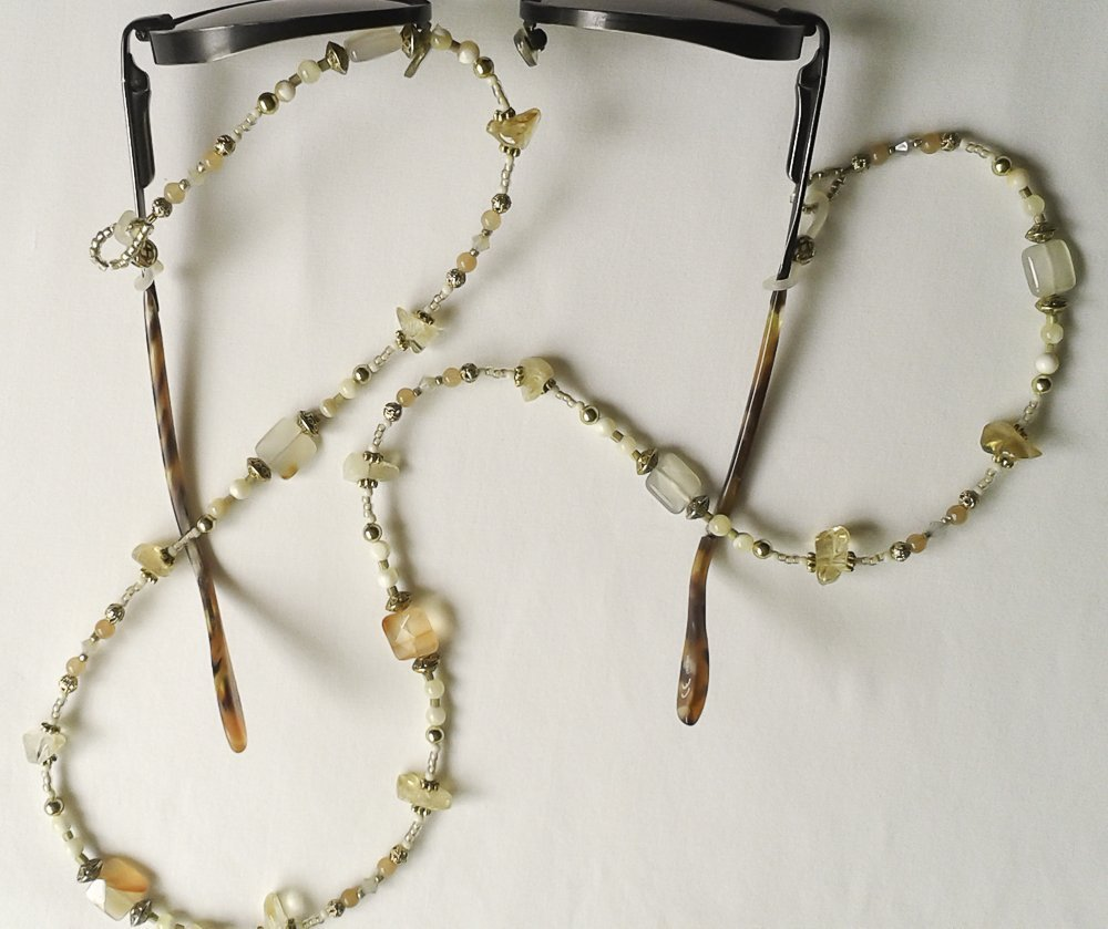 Crystal and Citrine Gemstone Eyeglass Chain #EY125