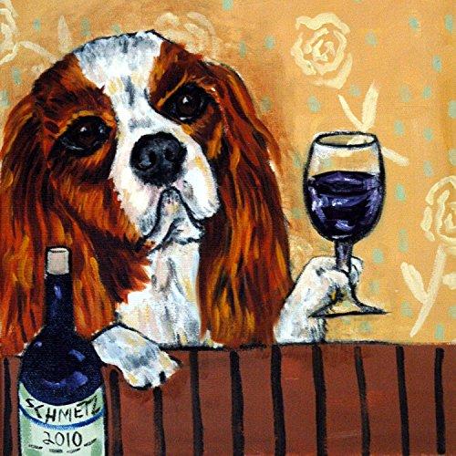 Cavalier King Charles Spaniel at the Wine Bar dog art tile coaster gift