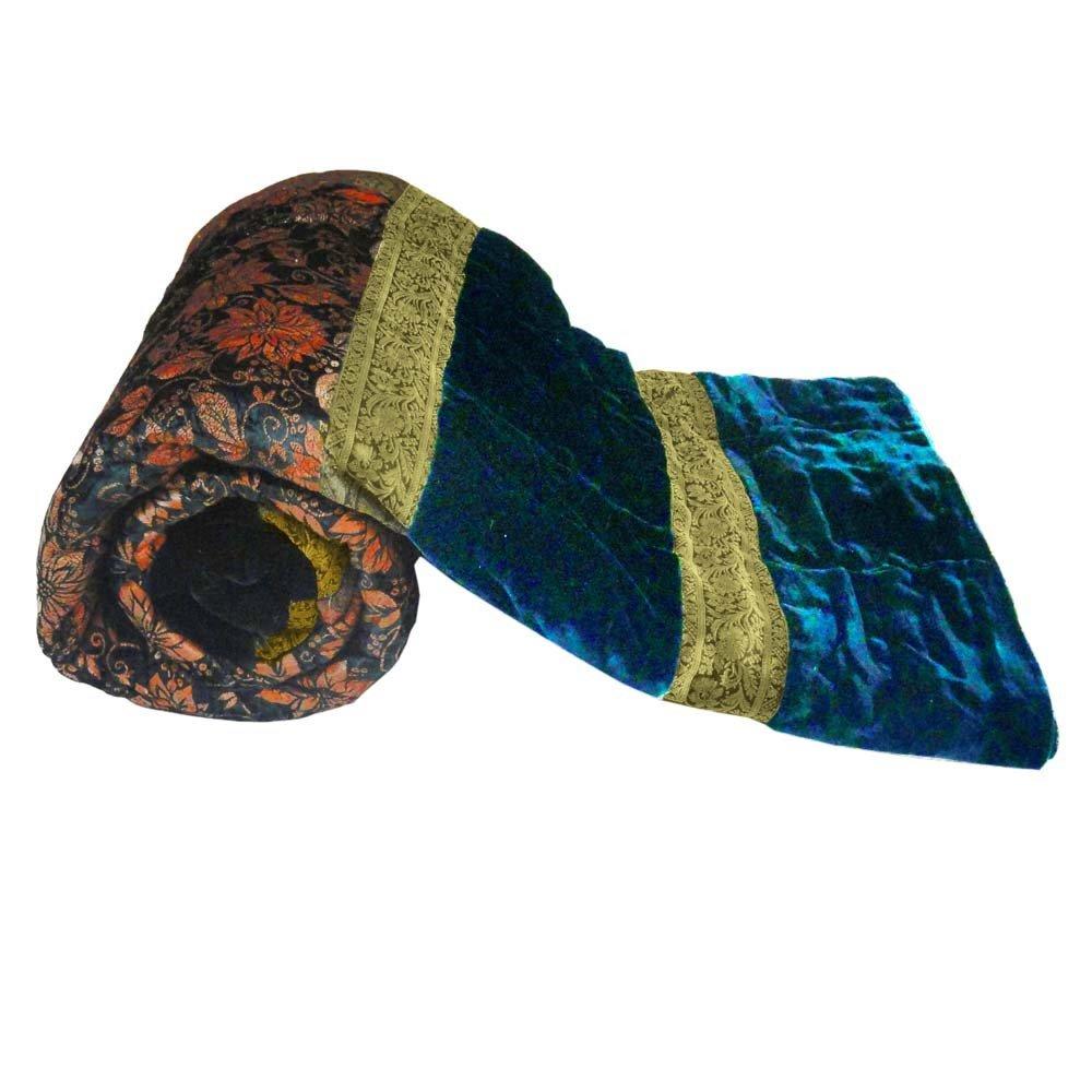 Little India Rajasthani Design Green Double Bed Velvet Quilt 403