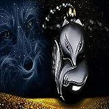 QGEM Natural Obsidian Healing Crystal Fox Amulet
