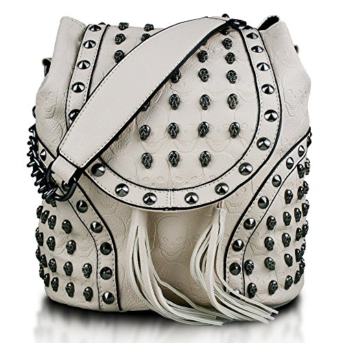 School LuLu Embossed Work Leisure Bag Faux Backpack Leather Chain Beige Bags Skull Miss Studded Travel Shoulder UwO7dBdq