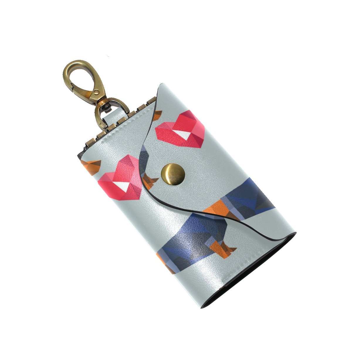 DEYYA Dachshund Dog Polygon Leather Key Case Wallets Unisex Keychain Key Holder with 6 Hooks Snap Closure
