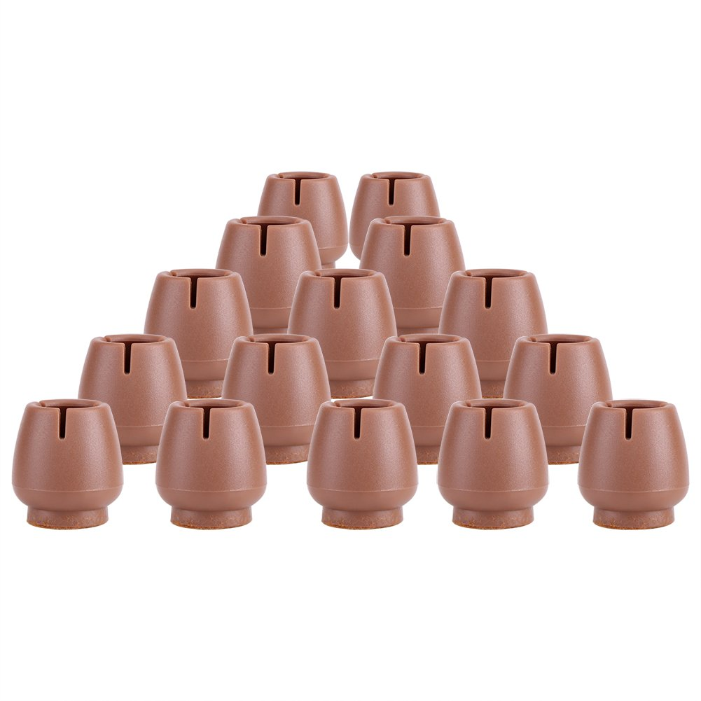 16Pcs Brown PVC Table Chair Furniture Leg Non Slip Foot Cap Cups Cover Floor Protector(12-16MM) GLOGLOW