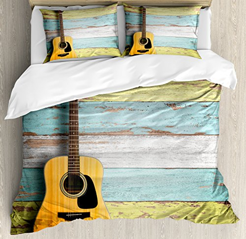 Decorative Painted Bed Set - Ambesonne Music Duvet Cover Set, Acoustic Guitar on Colorful Painted Aged Wooden Planks Rustic Country Design Print, Decorative 3 Piece Bedding Set with 2 Pillow Shams, Queen Size, Yellow Green