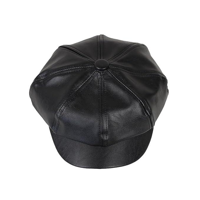 OULII Berretto in cuoio Cappello unisex moderna Cappelli berretti di nero   Amazon.it  Abbigliamento 34e12b672788