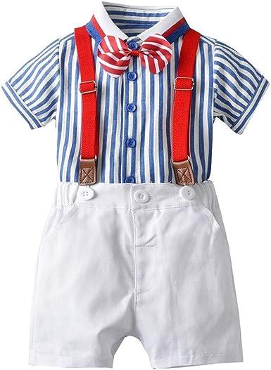YWLINK 4PC Conjunto NiñO, Camisa De Manga Corta con Pajarita Estampada A Cuadros+Correa De Color SóLido PantalóN Corto Traje De Confort Vestido De Fiesta De Playa Rendimiento Regalo De CumpleañOs: Amazon.es: Ropa
