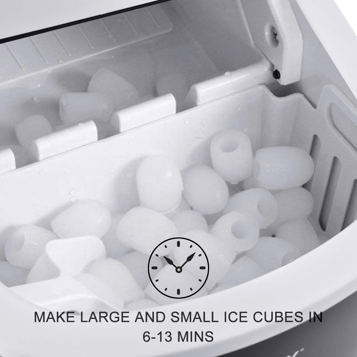 COSTWAY Portable Compact Electric Ice Maker Machine Counter Top Mint Green Mini Cube 26lb of Ice Daily
