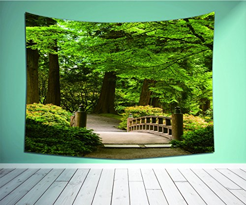 Avamam Tapestry Wall Art Japanese Decor Wooden Bridge Over A Pond In Garden Calmness In Shadow Of Trees Serenity In Nature Green Brown- Wall Hanging For Bedroom Living Room Dorm - Rail Garden Low Bridge