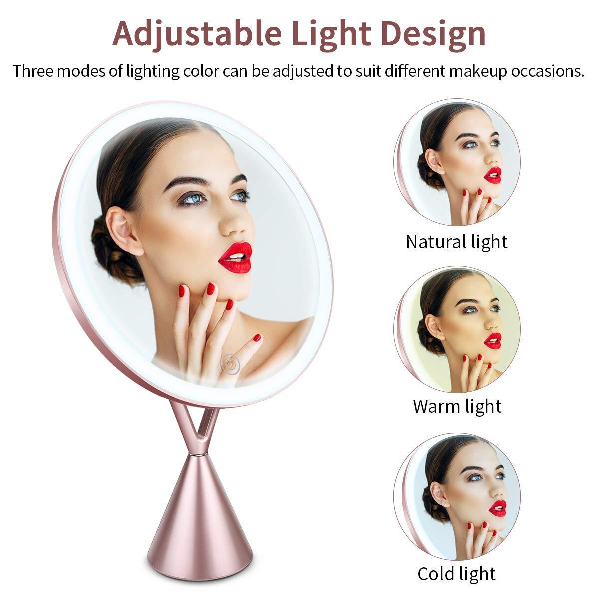 Morpilot Miroir de Maquillage, Miroir de Cosmétique avec 1x/5x Grossissant, Lampes à Écran Tactile et Recharge USB, avec Lumière Froide/Lumière Naturelle/Lumière Chaude + Support Réglable à 45 Degrés