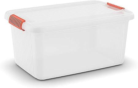 Kis 8563000 0719 01 Caja K Latch Caja, 43 L, plástico, Transparente/Naranja, 59 x 39 x 28 cm: Amazon.es: Hogar