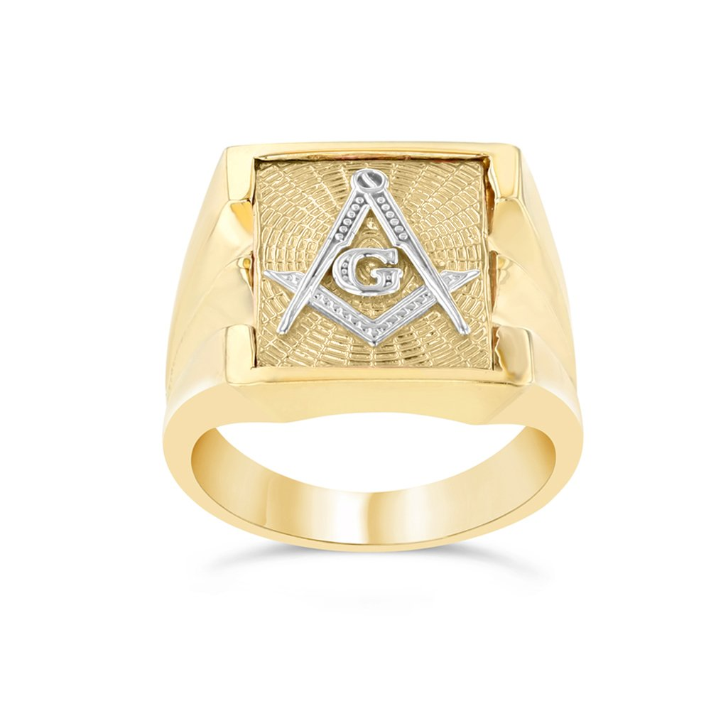 Men's Masonic Freemason Square & Compass Ring in Solid 14k Two-Tone Yellow Gold (Size 5.5)
