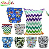 Ohbabyka Baby Washable Reusable Training Diapers Nappies 7PCS , A Wet/Dry Bag