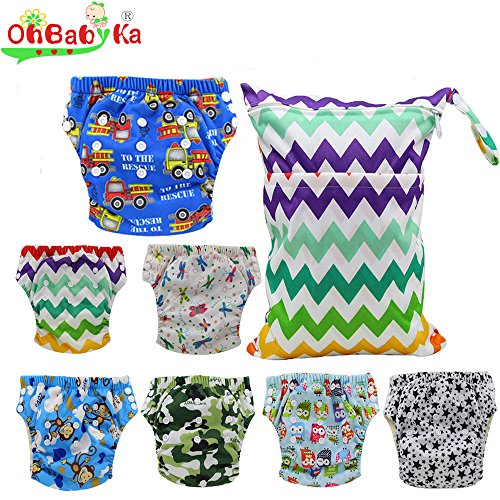 Ohbabyka Baby Washable Reusable Training Diapers Nappies 7PCS , A Wet/Dry Bag by OHBABYKA