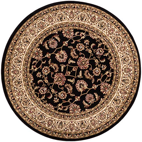 (Noble Sarouk Black Persian Floral Oriental Formal Traditional 8 Round (7'10'') Area Rug Easy to Clean Stain Fade Resistant Shed Free Modern Contemporary Transitional Soft Living Dining Room Rug)