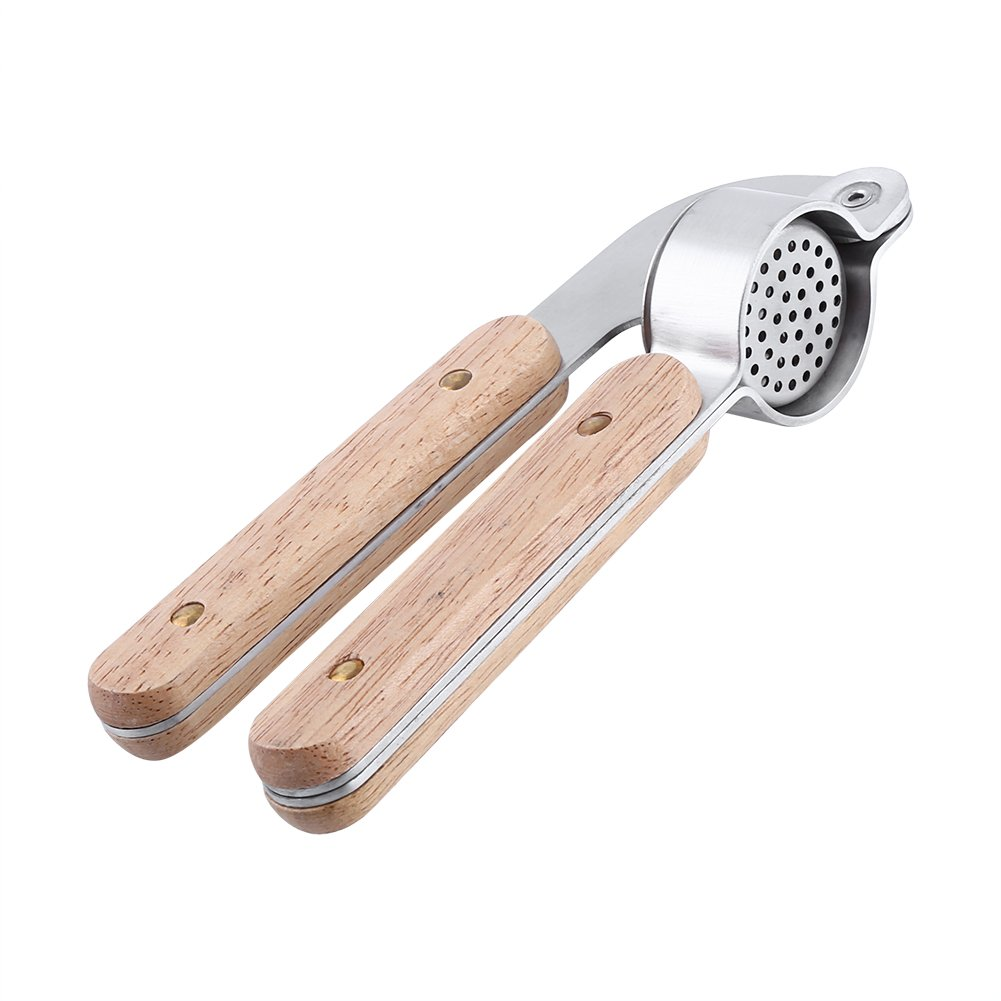 Fdit Home Kitchen Tool Stainless Steel Garlic Ginger Press Mincer Crusher Removable Insert Sturdy Gadgets with Non Slip Wooden Handle