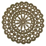 Round Jute Area Rug with Scalloped Edging - Handmade Crochet with Natural Fiber - 37''