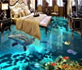 LWCX Customized Vinyl Flooring Water Proof 3D Murals Wallpaper For Living Room The Underwater World Wallpaper Modern 3D Flooring