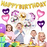 AYUQI Birthday Balloon Banner Party Decorations with Confetti Balloons Gold Pink Colorful, Romantic Heart Shape Balloons, Gold Happy Birthday Banner for Girls Kids Women Adults
